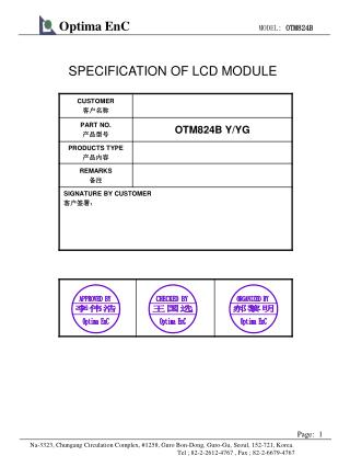 SPECIFICATION OF LCD MODULE