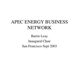 APEC ENERGY BUSINESS NETWORK