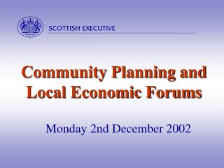 Community Planning and Local Economic Forums
