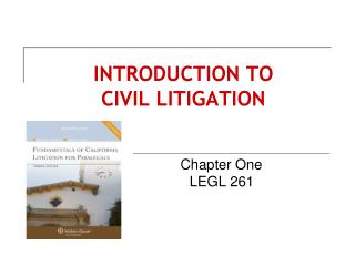 INTRODUCTION TO  CIVIL LITIGATION