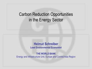 Carbon Reduction Opportunities in the Energy Sector