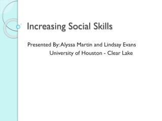 Increasing Social Skills