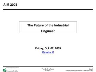 The Future of the Industrial Engineer