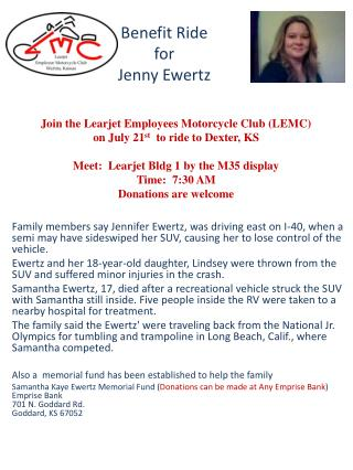 Benefit Ride for  Jenny  Ewertz