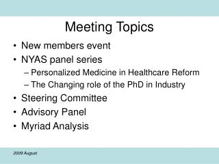 Meeting Topics
