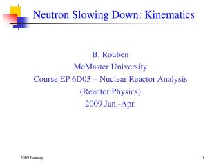 Neutron Slowing Down: Kinematics