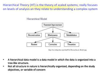 Hierarchical Theory HT is the theory of scaled systems; really focuses on levels of analysis an they relate to understan