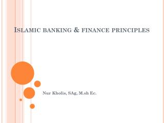 Islamic banking & finance principles