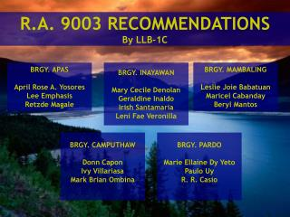R.A. 9003 RECOMMENDATIONS By LLB-1C