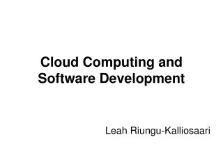 Cloud Computing and Software Development