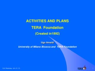 ACTIVITIES AND PLANS TERA  Foundation ( Created in1992)  Ugo Amaldi