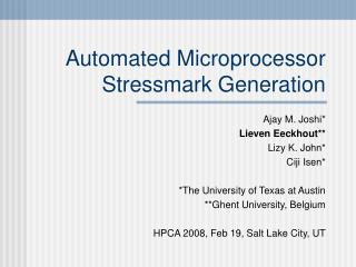 Automated Microprocessor Stressmark Generation
