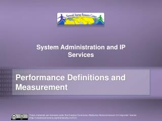 Performance Definitions  and Measurement