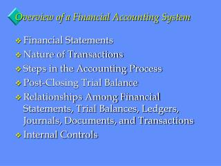 Overview of a Financial Accounting System