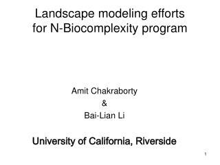 Landscape modeling efforts for N-Biocomplexity program