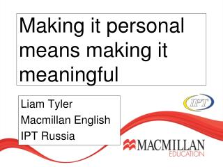 Making it personal means making it meaningful