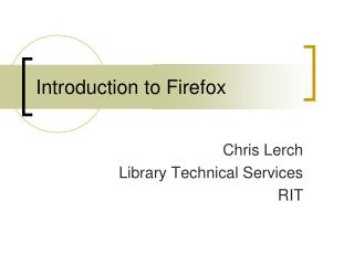 Introduction to Firefox