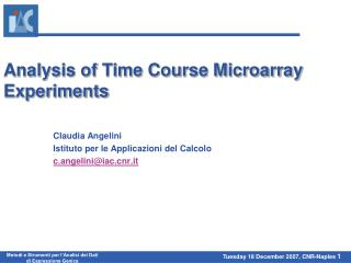 Analysis of Time Course Microarray Experiments