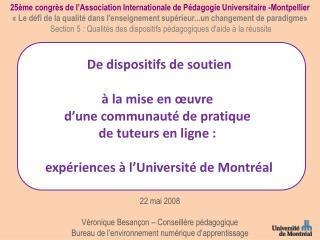 25ème congrès de l'Association Internationale de Pédagogie Universitaire -Montpellier