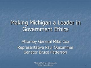 Making Michigan a Leader in Government Ethics