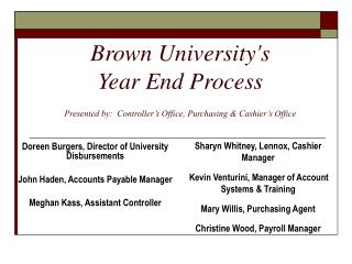 Brown Universitys  Year End Process   Presented by:  Controller s Office, Purchasing  Cashier s Office