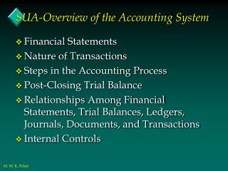 SUA-Overview of the Accounting System