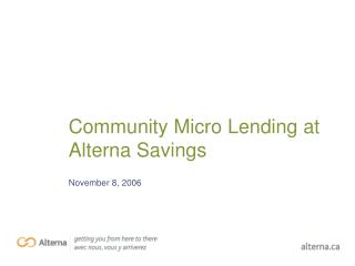 Community Micro Lending at Alterna Savings