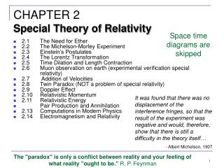 2.1The Need for Ether 2.2The Michelson-Morley Experiment 2.3Einstein's Postulates