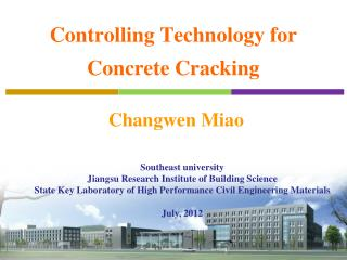 Controlling Technology for Concrete Cracking