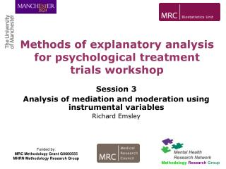 Session 3 Analysis of mediation and moderation using instrumental variables Richard Emsley