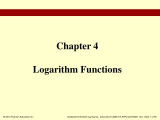 Chapter 4 Logarithm Functions