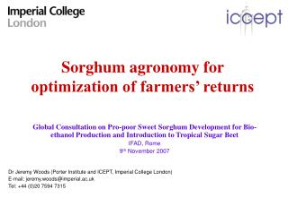 Sorghum agronomy for optimization of farmers' returns