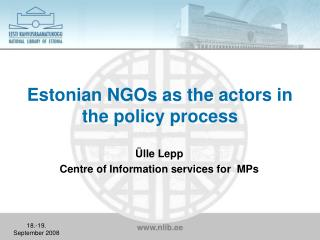 Estonian NGOs as the actors in the policy process