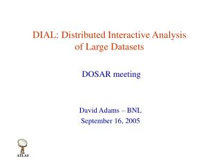 DIAL: Distributed Interactive Analysis of Large Datasets