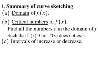 1.  Summary of curve sketching