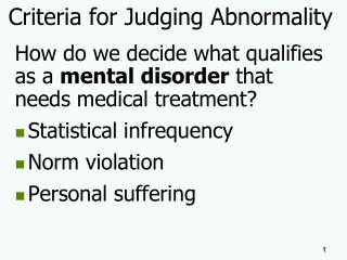 Criteria for Judging Abnormality