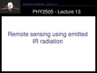 PHY2505 - Lecture 13