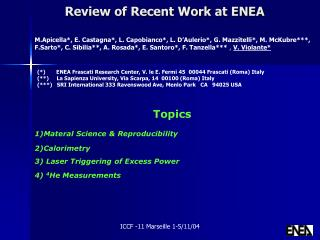 Review of Recent Work at ENEA
