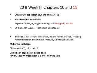 20 B Week III Chapters 10 and 11