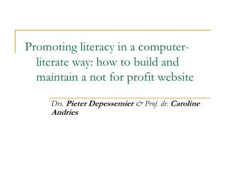 Promoting literacy in a computer-literate way: how to build and maintain a not for profit website