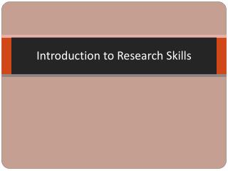 Introduction to Research Skills