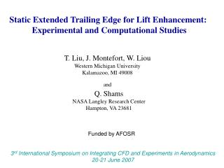 Static Extended Trailing Edge for Lift Enhancement:  Experimental and Computational Studies
