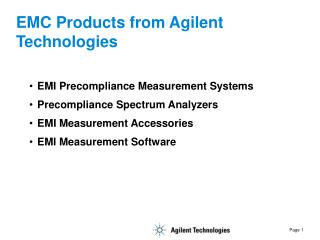 EMC Products from Agilent Technologies