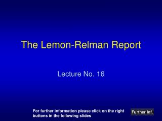 The Lemon-Relman Report