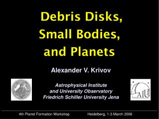 Debris Disks, Small Bodies, and Planets