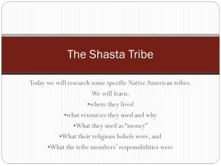The Shasta Tribe