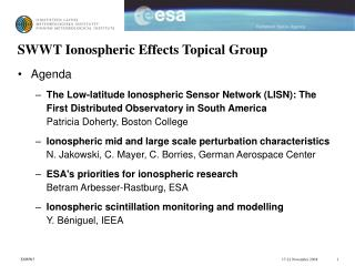 SWWT Ionospheric Effects Topical Group