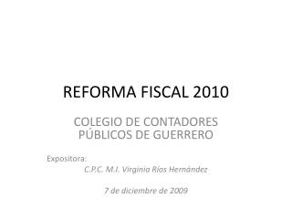 REFORMA FISCAL 2010