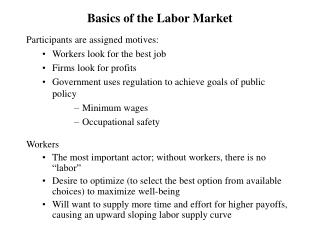 Basics of the Labor Market