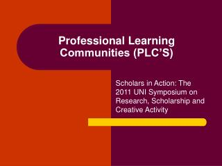 Professional Learning Communities (PLC'S)
